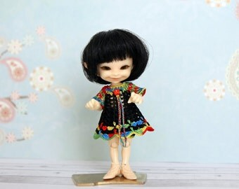 Realpuki outfit - fidelia firefly clothes - dress and bloomers set - crochet pants - black/multicolor