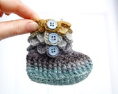 Crocodile Stitch Baby Booties. Baby Booties. Merino Wool. Baby Boots. Crochet Baby Booties. Baby Gift. Baby Socks. Blue and Mustard Booties