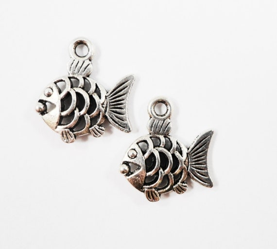Silver Goldfish Charms 17x15mm Antique Silver Fish Charms, Goldfish Pendants, Double Sided Fish Pendants, Metal Charms, Craft Supplies 10pcs