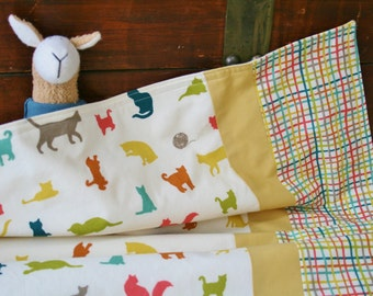 Ready to Ship, Organic Baby Blanket, Cats, Organic Receiving Blanket, Stroller Blanket, Kitties