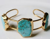 24k Gold Dipped Turquoise Howlite Stone Bangle Armlet