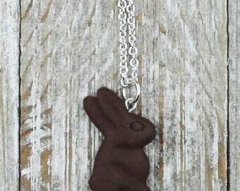 Chocolate Bunny Necklace - Food Jewelry - Easter Jewelry - Polymer Clay Jewelry