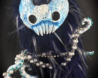 Mr. Moon the Flumpkin // horror moonlight creepy creature rune sigil evil ooak art doll fluffy