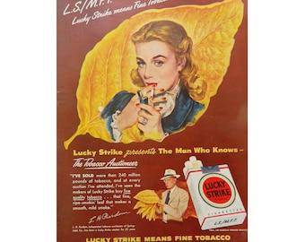 Lucky Strike Ad - 1940's Vintage Cigarette Advertising