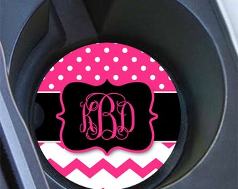 Pink polka dot car cup holder coasters, Girly auto decor, Pink and white dots with chevron, Personalized first car gift (1439)