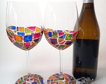 Hand Painted Wine Glass Set - Gems - Two Wine Glasses Painted With Translucent Pink, Yellow, Green, Blue & Purple Shapes Outlined with Gold