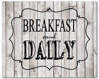 Kitchen Wall Art Print - Breakfast served Daily - Chalkboard look - Housewarming Gift - Typography Word Art - Kitchen Wall Decor