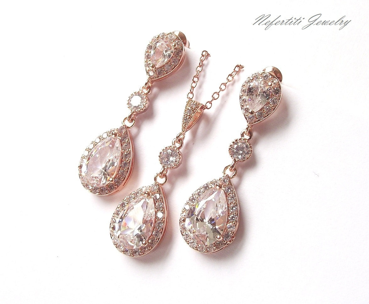 Rose Gold Bridal Jewelry Set Wedding Jewelry Rose Gold