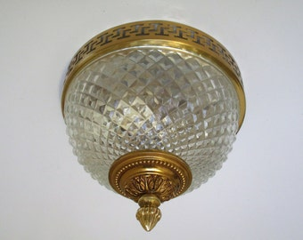 Elegant French Mid Century Ceiling Light Fixture-Diamond Cut Glass with Acorn Finial- Romanesque Rim-Perfect for Low Ceilings-French Glamour