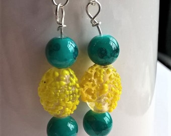 Yellow and Turquoise Earrings:  Lemon Drop Yellow Glass Beads and Turquise Glass Surgical Steel Earrings