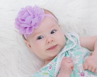 SALE - Baby Headband, Infant Headband, Newborn Headband - Lavender Lilac Headband  Frayed Chiffon and Lace Flower Headband