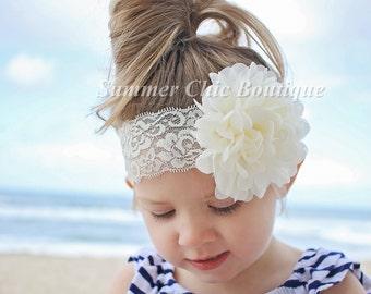 Ivory Headband, Baby Headband, Ivory Baby Headband, Infant Headband,Newborn Headband, Ivory Lace Headband, Ivory Girls Headband, Flower Girl
