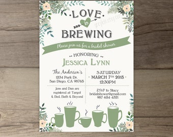 Love is Brewing Bridal Shower Invitations •Floral Tea Party • Tea Cups Coffee Mugs • printable