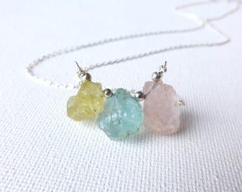 Aquamarine Necklace, Raw Aquamarine Pendant Necklace, Morganite Necklace, Mixed Aquamarine, Gift for Her, Crystal Necklace, Boho Jewelry