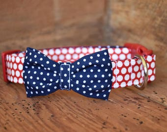 Patriotic Bow Tie Collar - Red/White Polka Dot with Navy/White Pin Dot Bow Tie or Bow