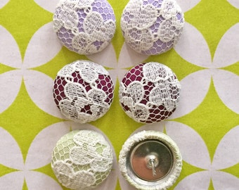Fabric Covered Button Earrings / Set of 3 / Lace / Wholesale Jewelry / Handmade Earrings / Hypoallergenic Studs / Earring Collection / Bulk