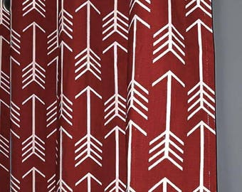 Red Arrow Curtains - FREE SHIPPING - Nursery Curtains - Arrow Curtain - 2 Curtain Panels - Any SIZE - Home Decor - Red Curtains - Window