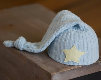 Newborn Boy Hat Blue Hat with Yellow Star Upcycled Sleepy Time Hat Ready to Ship Newborn Photography Prop Elf Hat Stocking Cap Knot Hat Boy