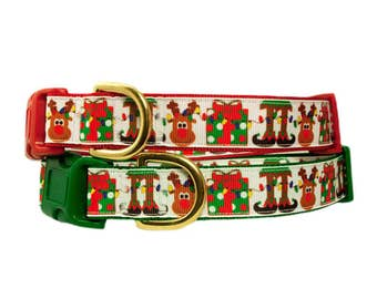 """Reindeer Christmas 1"""" Dog Collar in Red, Green or Black"""