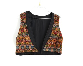 70s vintage tapestry crop vest// mega print woven hippie vest// small medium