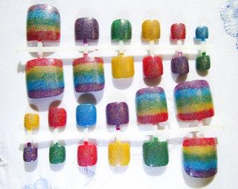 Holographic Rainbow Fake Toenail Set / Holo / Rainbow / Toenails / False Toenail / Press on / Nails / Toe Nail / Pedicure / Summer Nails