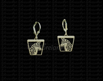 Siberian Husky profile trapeze earrings - Gold.