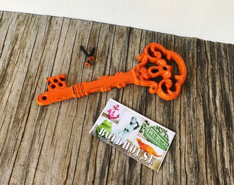 BOLD vibrant tangerine orange ORNATE skeleton KEY wall decor // hand painted cast iron // wall art // victorian shabby chic french country