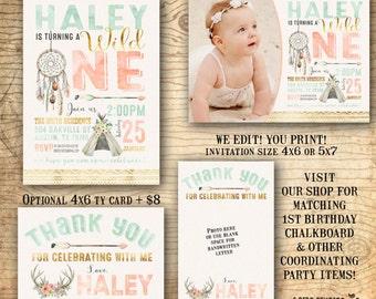 Wild one birthday invitation - Dream catcher invitation - 1st birthday invitation - Boho Tribal invitation - gold & mint feathers - U print