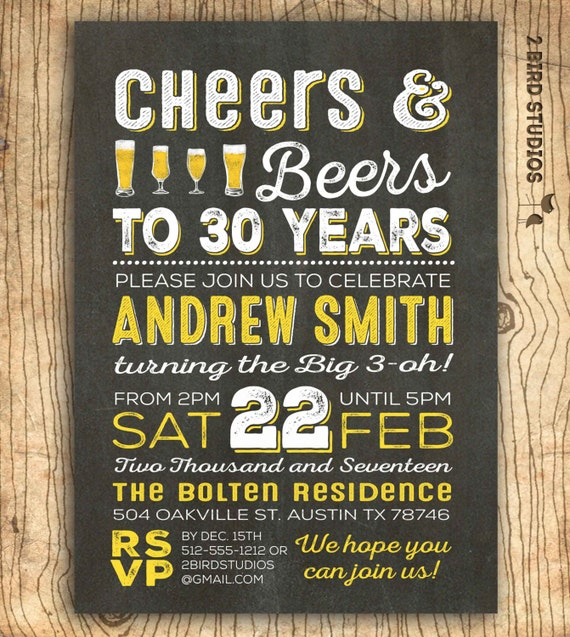 Cheers and beers to 30 years invitation 30th birthday – Surprise 30th Birthday Invitations for Men