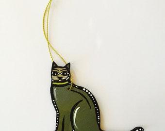 "Cat Ornament - 3"" Original Handmade and Signed Cute Grey Cat Wood Flat Ornament. Christmas Tree Decor - Cat Art. One of a kind."