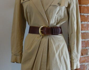 Kors Made in Italy Khaki Trench Coat Dress US size 10