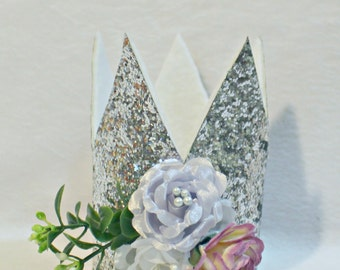 Silver Glitter Flower Crown