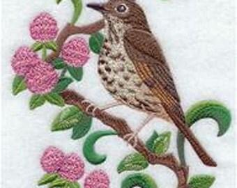 Vermont State Bird Hermit Thrush Embroidered Towel   Flour Sack Towel   Linen Towel   Dish Towel   Kitchen Towel   Hand Towel