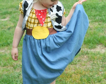 Cowboy Woody dress, Toy Story Dress, Woody Costume, Disney Inspired,Girls Christmas gift,Costume,Dress Up, Every Day Play Wear, Handmade
