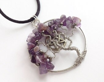 Amethyst Pentagram Necklace - Tree of Life Pendant - February Birthstone - Birthday Gift For Her - Purple Necklace