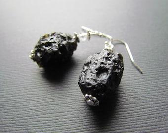 Tektite Earrings - Black Meterorite Rock - Meteorite Earrings - Space Jewelry