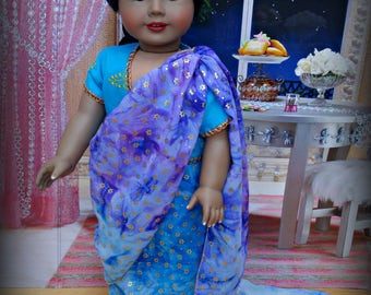 """Blue Doll Sari American Made for 18"""" Girl"""