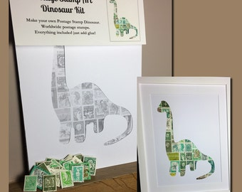 Dinosaur Postage Stamp Art Kit