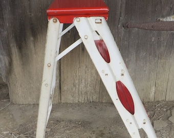 Mid-Century 1960s Folding Red and White Enamel Step Ladder