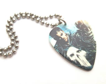Punisher Guitar Pick Necklace with Stainless Steel Ball Chain - comic book - Marvel Comics