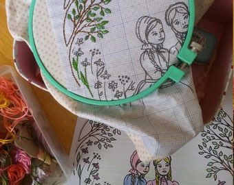 Dear Laura and Mary, prairie sisters, coloring page and embroidery pattern