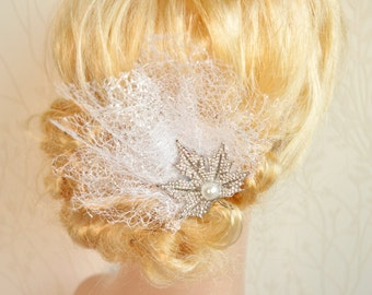 Maple Leave Hair pin, Bridal rhinestone hair piece, Wedding Hair clip, Crystal bridal clip, Rhinestone wedding accessories, Silver Netting