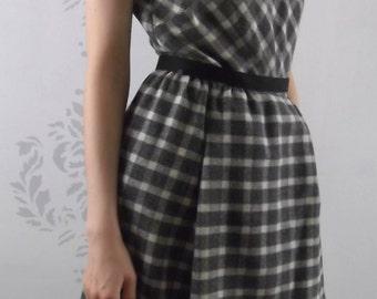 VINTAGE WOOL DRESS 1950's Grey Black Harvey Berin Size Small