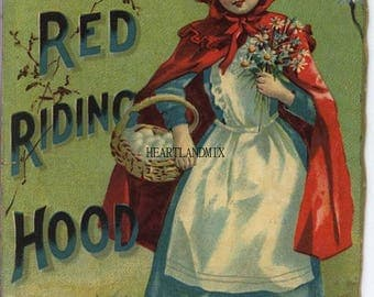 Antique Reading Book Illustration Digital Image Download Printable Little Red Riding Hood