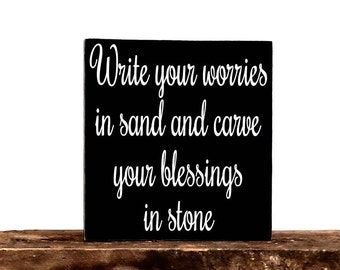 """Write Your Worries Sign - Motivational Wooden Sign - Inspirational Wall Hanging - Gift Plaque - 6"""" x 24"""" - Handpainted Wall - Art"""