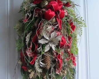 Holiday Swag - Christmas Door Decor -  Winter Wreath - Holiday Wreath -  Swag - Country Swag - Wreath -  Door Swag - Winter Swag