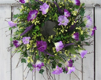 Spring Wreath - Mothers Day Wreath - Summer Wreath - Purple Wreath - Twig Wreath - Mourning Glory - Country Wreath - Rustic Twig Wreath