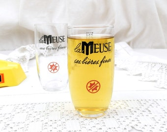 "2 Vintage Mid Century French Beer Glasses Biere ""La Meuse"", A Pair of Glasses, Bistro, Pub, Man Cave, France, Retro, Collectible, Drinking"