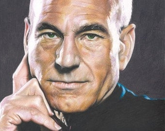 Colored Pencil Drawing of Patrick Stewart as Captain Jean Luc Picard in Star Trek: The Next Generation