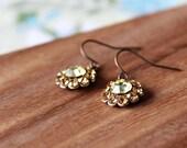 small vintage glass earrings - bloom - amber, lemon